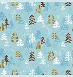 Hand drawn christmas tree seamless naive pattern vector