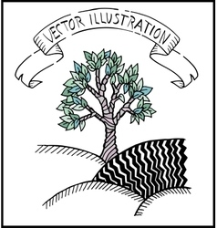 Hand drawn doodle tree vector image