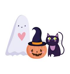 happy halloween ghost pumpkin and black cat trick vector image