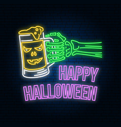 happy halloween neon sign or emblem vector image
