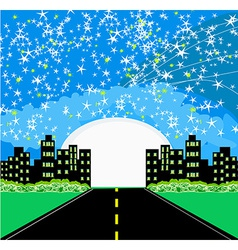 Highway to city with large moon vector image