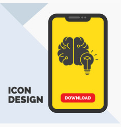 idea business brain mind bulb glyph icon in vector image
