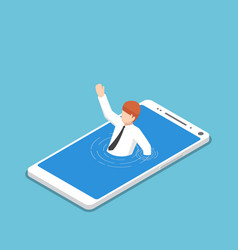 isometric businessman drowning in smartphone vector image