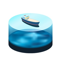 Isometric ship on the water vector image