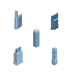 isometric skyscraper set of skyscraper building vector image