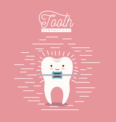 kawaii caricature tooth with brace dental care vector image