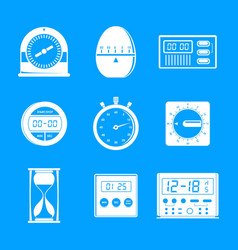 kitchen timer icons set simple style vector image