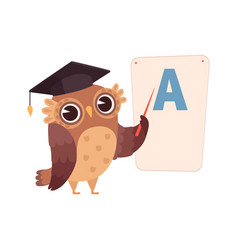 learning letters owl at poster with letter a vector image