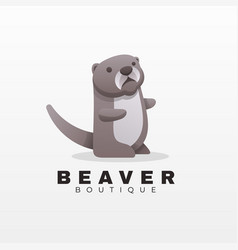 logo beaver gradient colorful style vector image