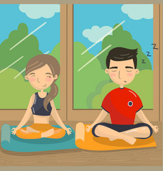 man and woman sitting on the floor in lotus vector image