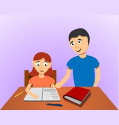 man help son homework concept background cartoon vector image