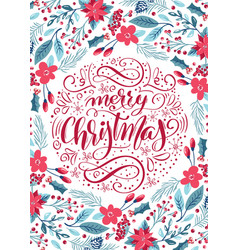 merry christmas calligraphic lettering hand vector image