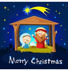 merry xmas nativity in bethlehem - christmas vector image