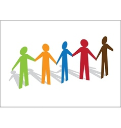 Multiracial Paper People vector