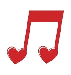 Music note heart love icon vector