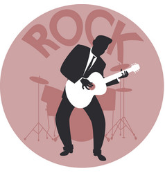 Musical style rock silhouette guitar player vector