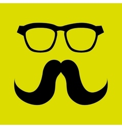 mustache and glasses icon design vector image
