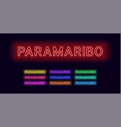 Neon name of paramaribo city vector
