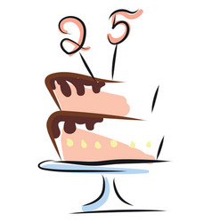 painting a pink cake to celebrate 25th vector image