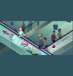 people on escalators in shopping center vector image