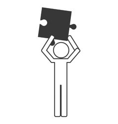 person holding puzzle piece icon vector image