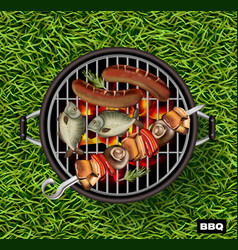 picnic bbq realistic green grass lawn vector image
