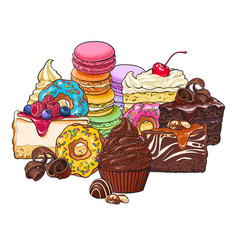 pile heap of various cakes donuts macaroons and vector image
