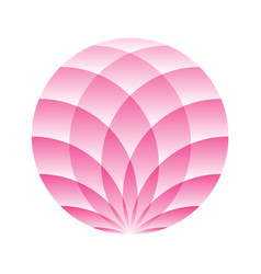pink lotus circle - symbol of yoga wellness vector image