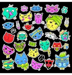 Pop art set with fashion patch badges Cats and vector