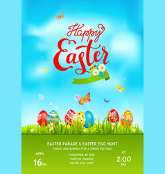 Poster holiday easter eggs vector