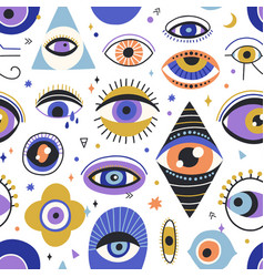 seamless esoteric pattern with mystical eyes vector image