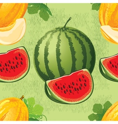 seamless pattern of ripe melon and watermelon vector image