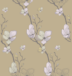 Seamless pattern with drawn cherry flowers vector