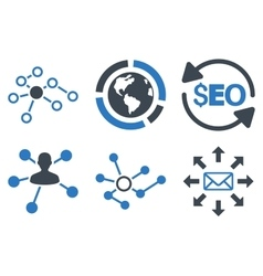 Seo Link Building Flat Icons vector
