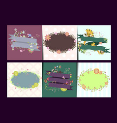 Set of card templates with frames and flowers vector