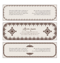 set of horizontal vintage banners with a henna vector image