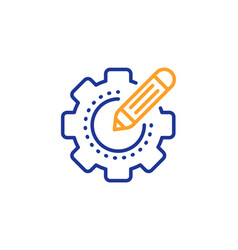 Settings gear line icon cogwheel with star sign vector