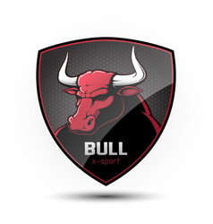 Shield with a bulls head vector