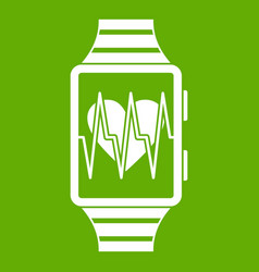 smartwatch with sport app icon green vector image