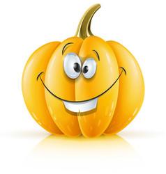 Smiling ripe orange pumpkin vector