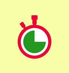 Stopwatch icon with red case white dial vector