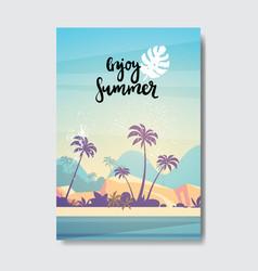 summer landscape palm tree beach sunset badge vector image