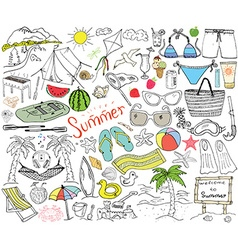 summer season doodles elements hand drawn sketch vector image