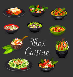 Thai seafood dishes with meat and vegetable salads vector