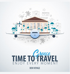 travel to greece time to travel banner with vector image