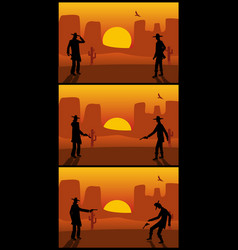 Two gunslingers duel desert sunset color flat vector