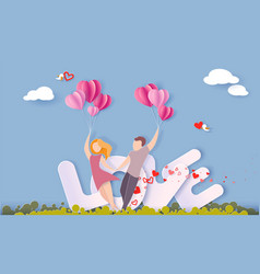 valentines day card with couple in love vector image