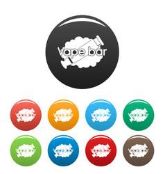 vape bar icons set color vector image