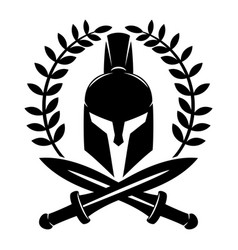 Warrior helmet and swords vector