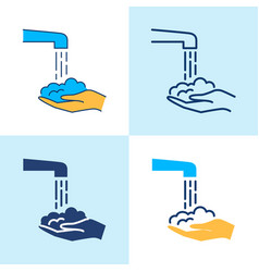 washing hands icon set in line style vector image